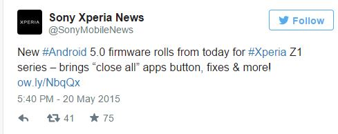 Sony Xperia Z1, Z1 compact and Z ultra get Lollipop 5.0.2 update