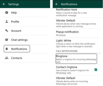 How to change whatsapp call notification ringtone