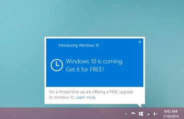 windows 10 free update for windows 7 and 8.1