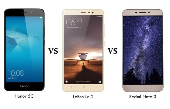 Honor 5C vs LeEco Le 2 vs Redmi Note 3 Comparison