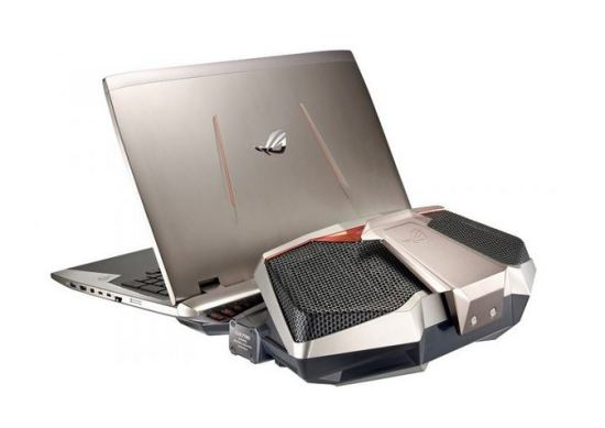 Asus ROG GX700 gaming laptop with external liquid cooling