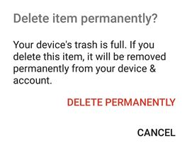 Your devices trash is full error in Google Photos