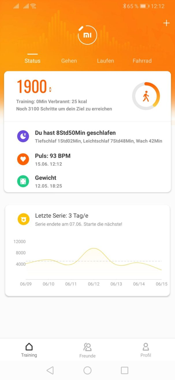 Screenshot aud der Xiaomi App
