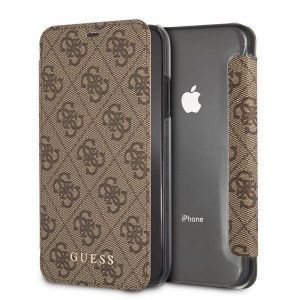 IPhone XR GUESS CHARMS COLLECTION Booktype Case 4G - Brown