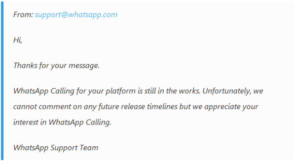 Whatsapp Calling Feature for iOS & Windows Mobile