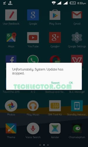 Unfortunately System Update has stopped