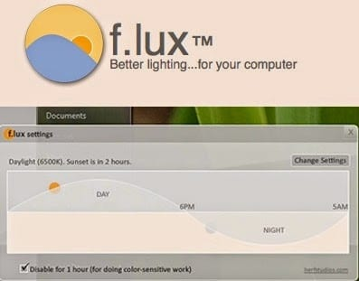 The f.lux home screen