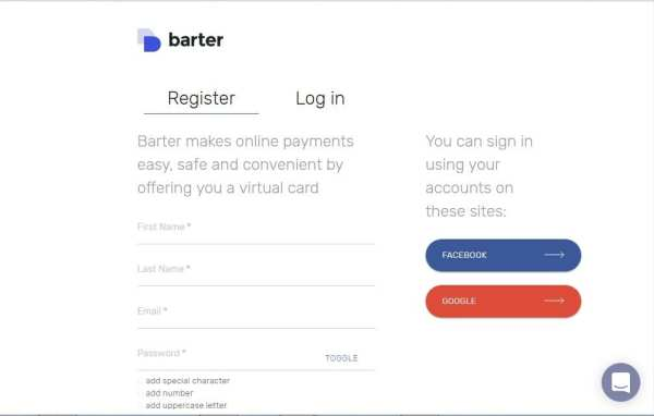 signup getbarter.co virtual card