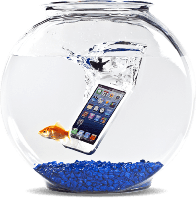 Smartphone drops in water