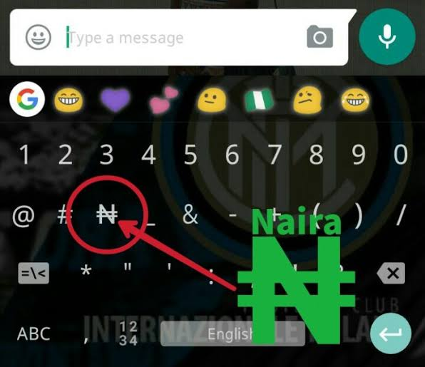 Naira Sign On Android