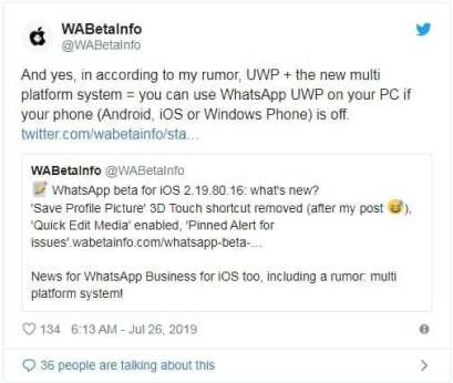 whatsapp new web version update tweet