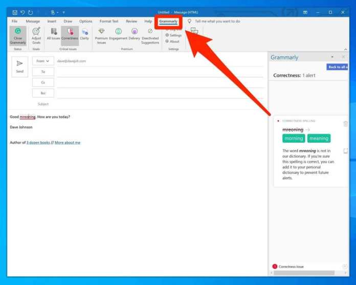 Add Grammarly Microsoft Outlook App
