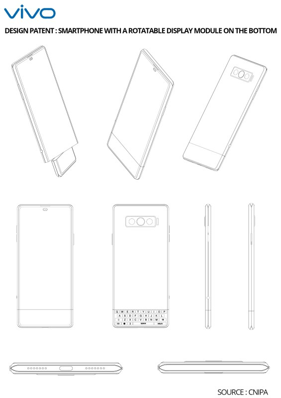 Vivo Files Design Patent For A Smartphone Having Rotatable Display Module On The Bottom Side