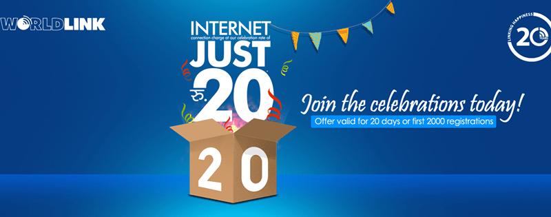 "WorldLink Launches ""Internet Just Rs. 20"" offer in it's 20th Anniversary"