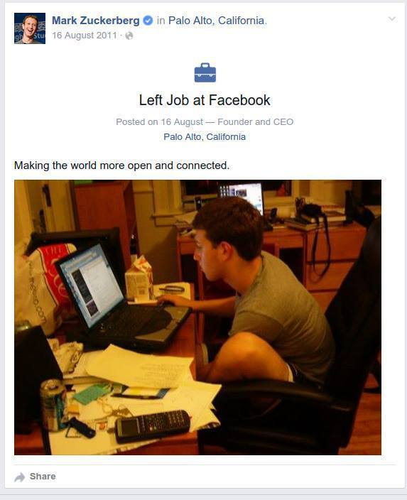 Mark Zuckerberg Quit His Job