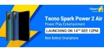 Tecno Spark Power 2 Air with 7-inch display launching in India on September 14
