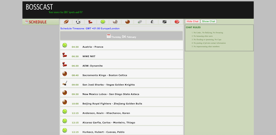 Bosscast: Sports Streaming Site