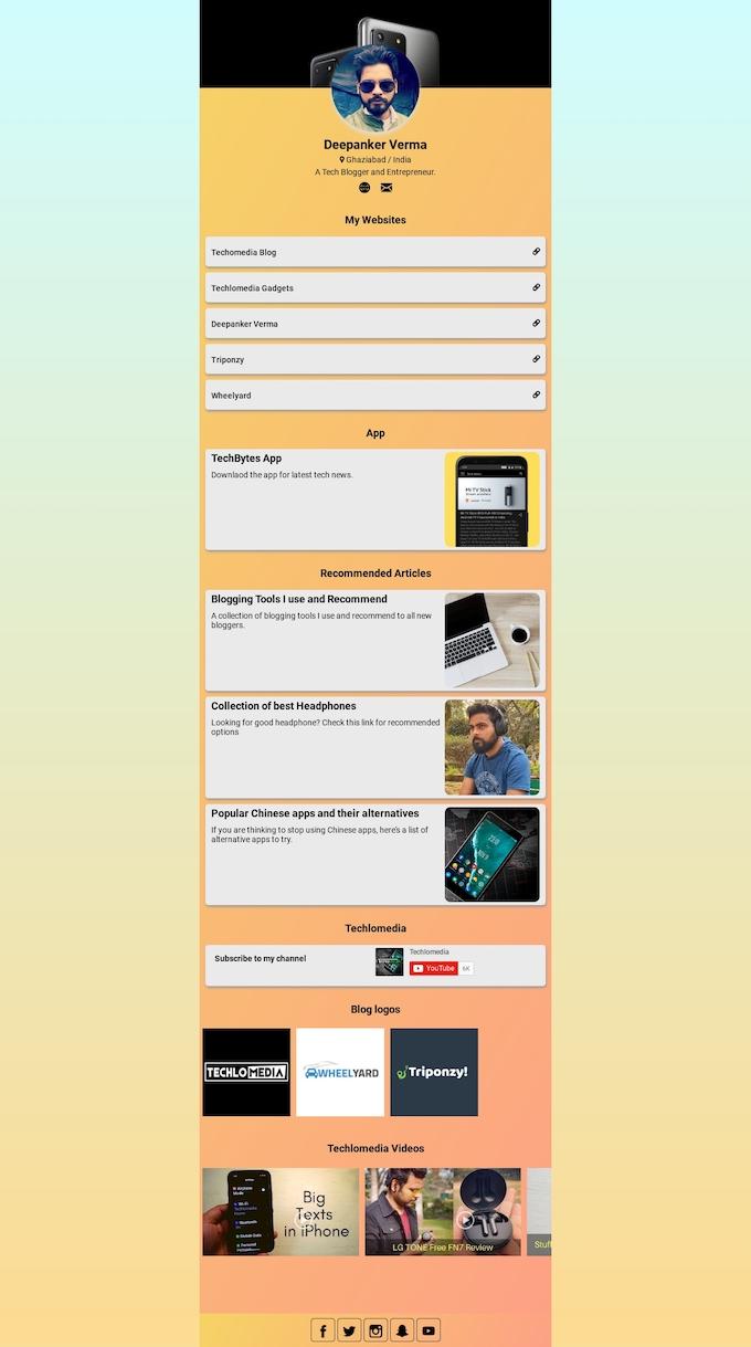 Instagram Bio Link tool