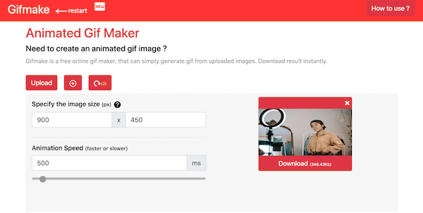 Gifmake: GIF maker online