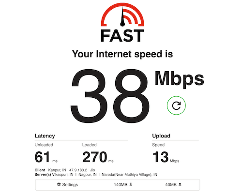 Fast.com Internet Speed test
