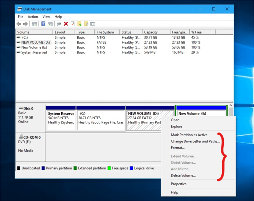 Windows Disk Management Utility Partion Management tool