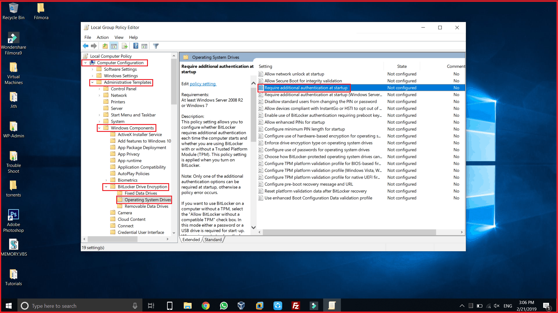 BitLocker for C Drive Required additional authenticaton at startup