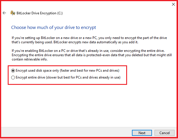 choose how much of your drive encrypt