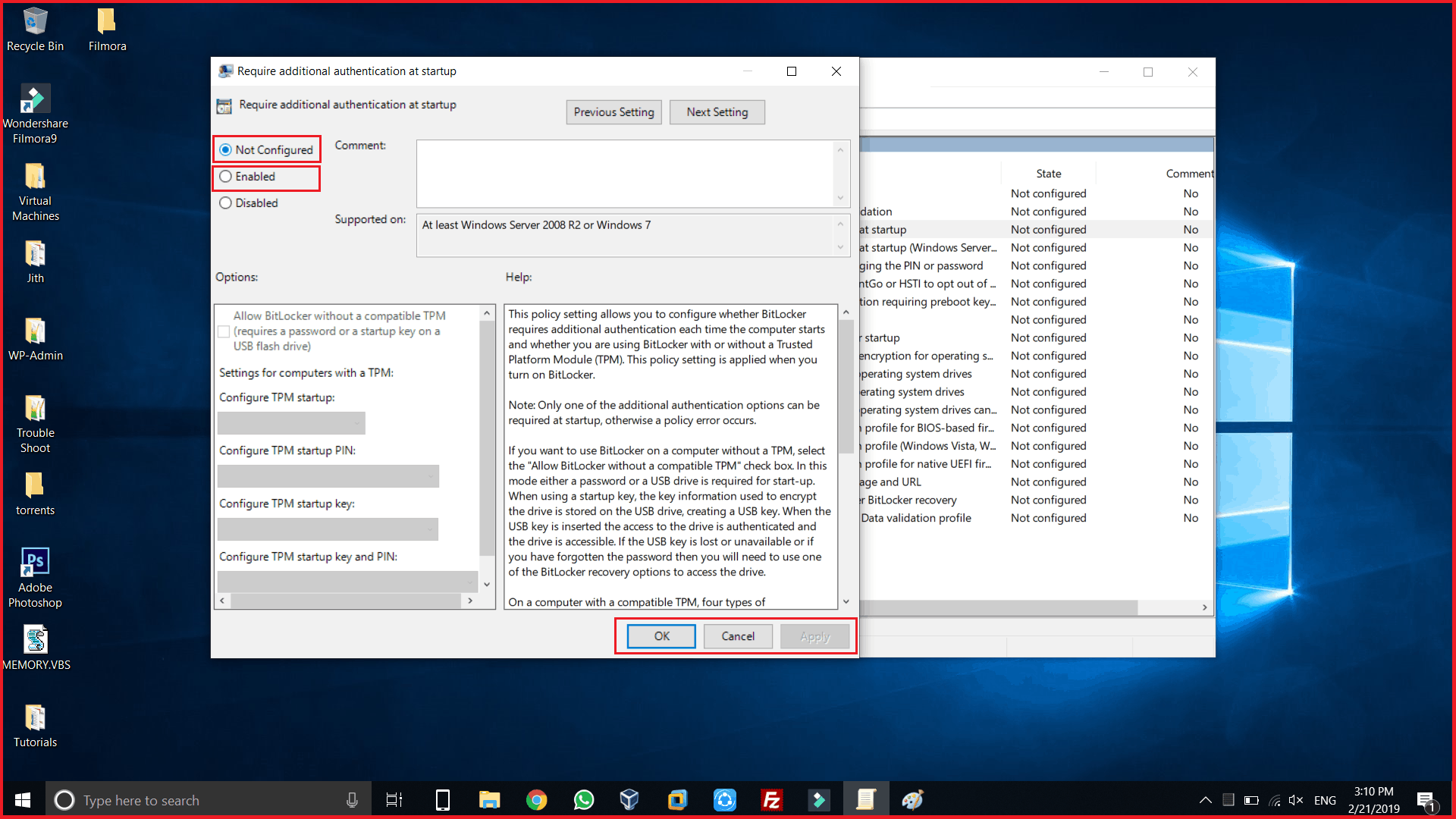 enable additional authentication at startup for bit locker