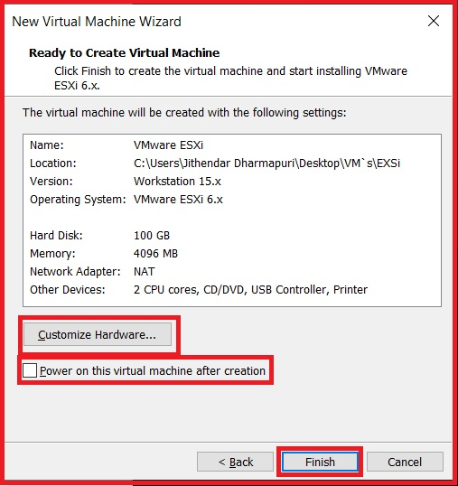 ready to create the virtual machine