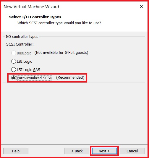 Select IO controller types for the virtual machine