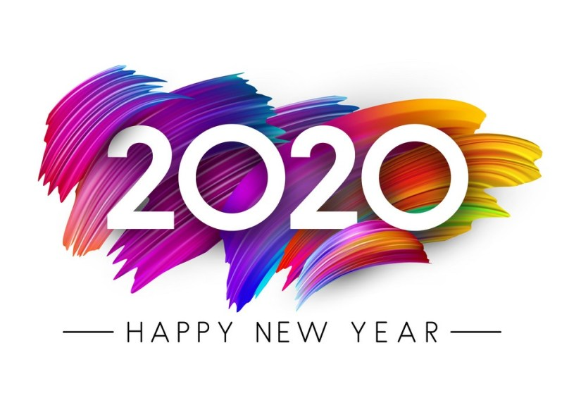 Happy New Year 2020 card with colorful brush stroke