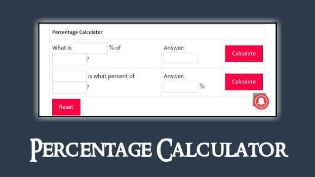 Percentage Calculator Script for Blogger, Create Percentage Calculator Tool in Blogger and WordPress