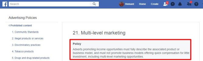 facebook policy on MLM and Direct Selling