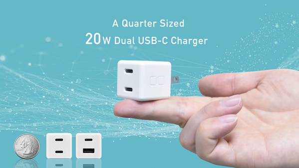 CIO releases a quarter-sized 20W dual USB-C charger project on Kickstarter on September 14.