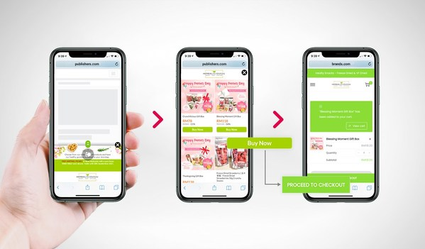 Innity Shoppable Quickbuy allows users to browse and add products to retailer's cart directly from within the ad.