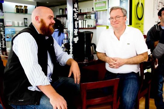 Eric Schmidt  and Erik Hersman at Pete's Coffee at iHub