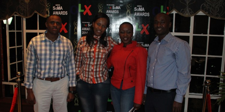 (FROM LEFT) OLK Kenya Country Manager, Peter Ndiangu'i, marketing manager, Priscila Muhiu, TV presenter Terryanne Chebet and Kenya Social Media director and Martin Mule, after the launch.