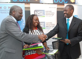 (from Left) Barclays Bank Kenya Chairman Mr. Francis Okomo Okello, New Faces New Voices Network Kenya Director Ms. Andia Chakava and Nairobi Securities Exchange Vice Chairman Mr. Bob Karina shake hands after signing the MOU that signaled the launch of a series of forums targeting the Chairpersons, Chief Executive Officers, Company Secretaries and senior directors which will focus on aspects of diversity and firm performance. Barclays supported the forums to a tune of Ksh1 million. A recent survey of 57 of the 61 companies listed on the NSE indicates that of a total of 467 directors, only 43 are women out of which only four occupy the position of chairperson.