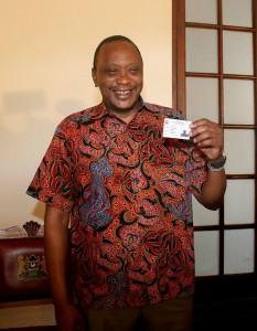 President Uhuru Kenyatta at the launch of the biometric  registration in Mombasa