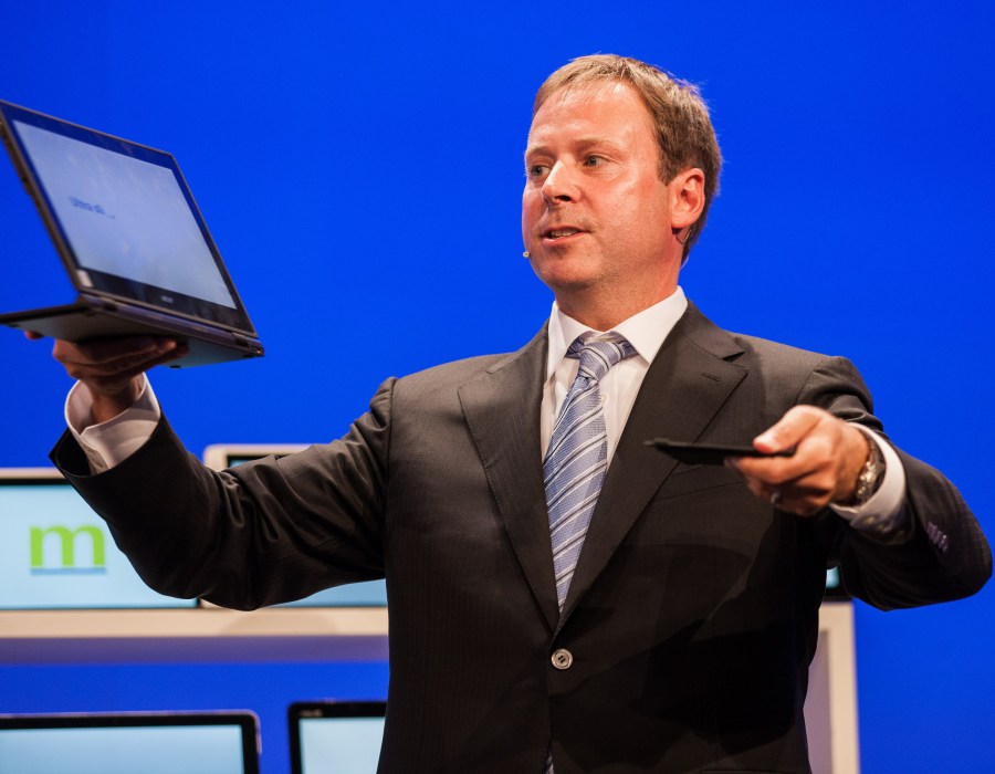 Intel senior vice president Kirk Skaugen shows off the new Acer Aspire Switch 12 with the Intel(R) Core(tm) M processor at IFA in Berlin