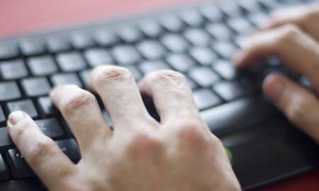 typing at a keyboard