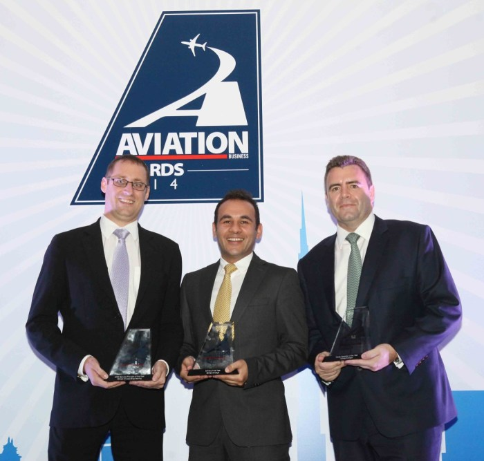 (left to right) Jeff Wilkinson, Etihad Airways Senior Vice President Technical; Joe Chamoun, Etihad Airways General Manager Sales (Abu Dhabi and Al Ain); and David Kerr, Etihad Airways Vice President Cargo, accept the awards at the Aviation Business Awards 2014 in Dubai last night.