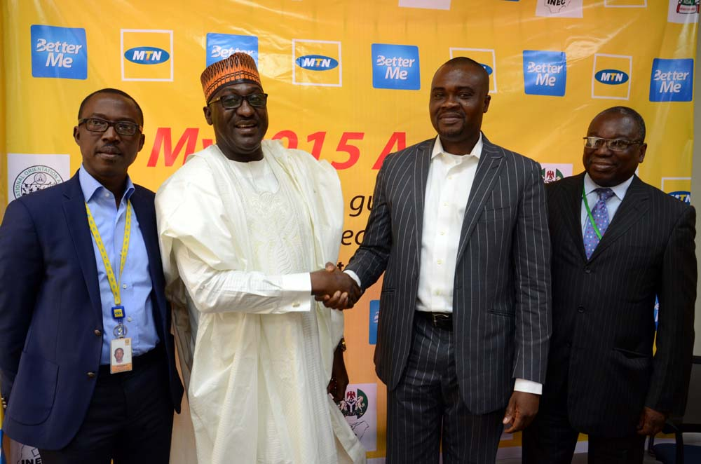 (L-R): Adekunle Adebiyi, General Manager, Regional Operations,North, MTN Nigeria; Mike Omeri, Director General, National Orientation Agency; Richard Iweanoge, General Manager, Consumer Marketing, MTN Nigeria and Oluwole Osaze Uzzi, Director, Voter Education, INEC, at the unveiling of the MTN BetterMe app for the 2015 election, in Abuja, recently.