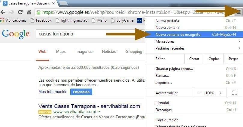 navegar modo incognito google chrome
