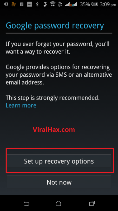 step7 click or tap on setup recovery option