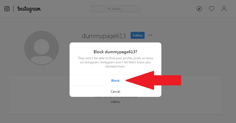 block button on Instagram