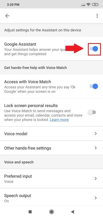 deactivate google assistant from home button