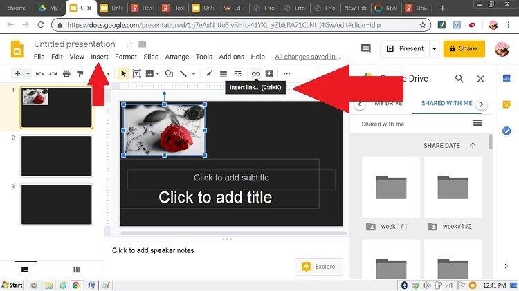 insert music link on slide
