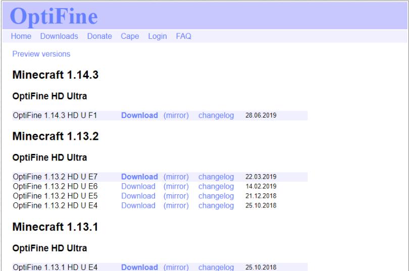 download optifine setup