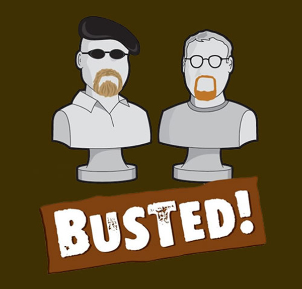 Myth: Busted image, with Jamie and Adam from the MythBusters TV program represented as bust statutes.